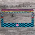 Hot pink monogrammed license frame tag chevron tribal design